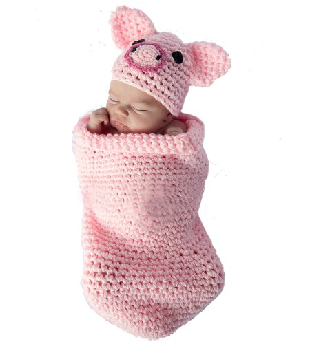 Newborn Baby Crochet Pink Piggy Beanie Hat with Cocoon Costume Photography Props