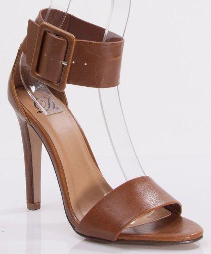 Delicious Vodka Faux Leather Open Toe Ankle Strap Single Heel Pumps Tan (7) front-418146