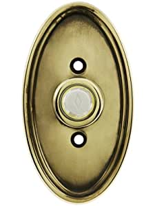 Solid Brass Oval Style Buzzer Button In Antique Brass. Antique Doorbell Button.