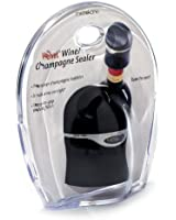 Metrokane Champagne and Wine Sealer, Velvet Black