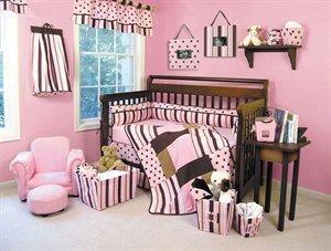 Pink Brown Polka Dot Baby Bedding