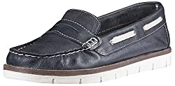 Palma Moda Womens Light Navy Blue Leather Loafers - 3 Uk
