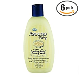 Aveeno Baby Soothing Relief Creamy Wash, Fragrance Free, 8-Ounce Bottle