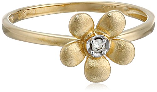 10k Yellow Gold Matte Diamond Flower Ring, (0.019 cttw, I-J Color, I2-I3 Clarity), Size 6