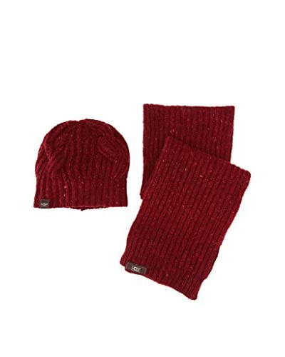 UGG Set de Gorro y Bufanda Cable Granate