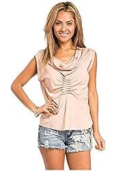 G2 Chic Women's Draped Cowl Neck Knit Tube Shirt Top