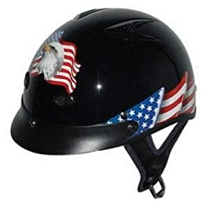 DOT VENTED EAGLE FLAG MOTORCYCLE HALF/BEANIE HELMET-XS