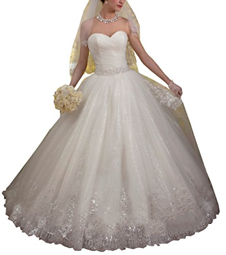 814977b0cc Datangep Women s 2016 Simple Sweetheart Empire A-line Ball Gown Wedding  Dress with Lace-up Back ...