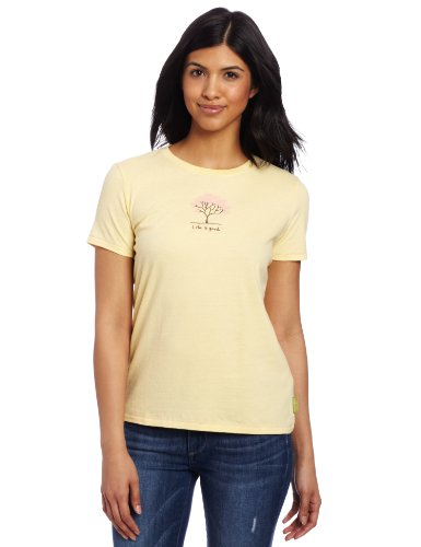 Life Is Good Women'S Flowering Tree Organic Tee, Pale Yellow, Small front-868789