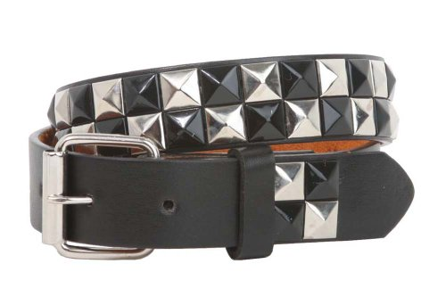"Kids 1"" Snap On Punk Rock Black & Silver Star Studded Checkerboard Leather Belt Size: S - 20"""
