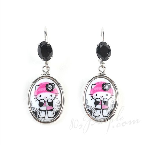 Tarina Tarantino - Pink Head - Mod - Cameo Drop Earrings Black