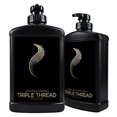Anti Frizz Smoothing Shampoo and Conditioner Set - Best Curly Hair Products for No Frizz, Moisturizing Hair Treatment - Color Safe and Sulfate Free (Liter)