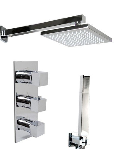 Thermostatic Shower Mixer Square Chrome Plated shower heads kit