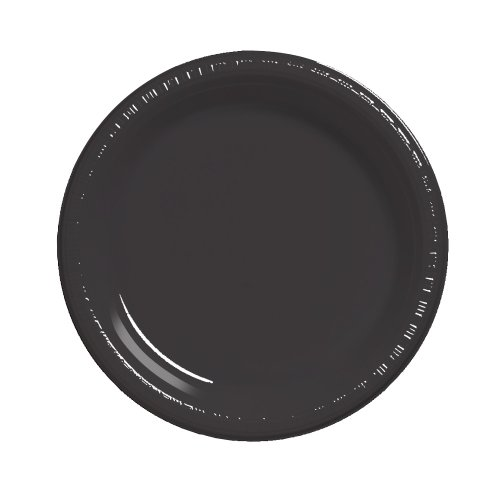 Creative Converting Touch of Color Plastic Dinner Plates, 9-inch, 20 Count, Black Velvet