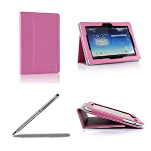 ProCase ASUS MeMO Pad FHD 10 Protective Case with bonus stylus pen - Flip Stand Leather Cover Case for ASUS MeMO Pad FHD 10 Inch WIFI LTE Tablet ME302, Built-in Stand, Supports Auto Sleep / Wake (Pink)