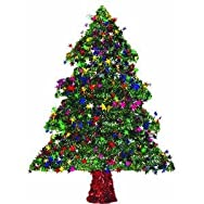 F C Young 18W-TREE Green Tinsel Specialty Tree Pack of 6
