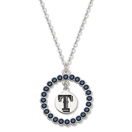 CYNSP19730O18-b-Mlb Texas Rangers Necklace W/ Blue Crystal Wreath at Amazon.com