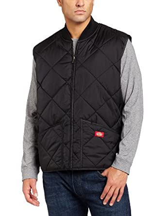 Dickies Men's Diamond Quilted Nylon Vest, Black, Medium