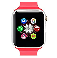 General AUX Smart Wrist Watch Touch Screen with Sim Card Slot (Red, Silver)