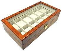 Heiden Premier Burlwood Watch Box- 12 Watches