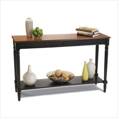 Cheap French Country Console Table in Cherry and Black Finish (R3-0110)