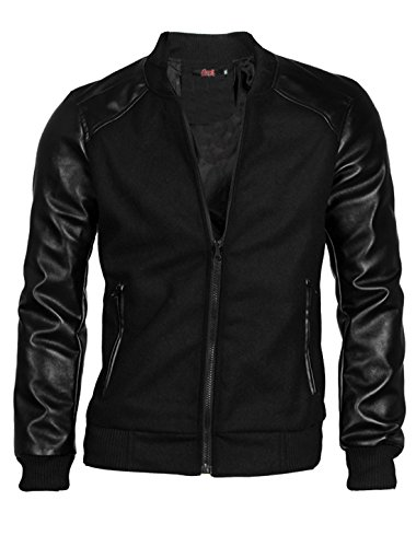 allegra-k-men-zip-closure-front-pu-leather-sleeve-lining-slim-varsity-jacket-m-uk-38-black