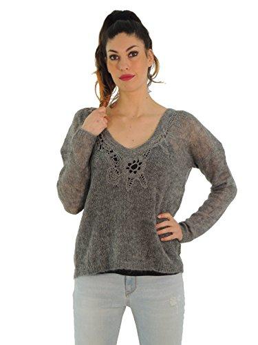 Twin-Set cardigan donna in lana motivo floreale scollo a V A5TTA53AN (M, GRIGIO)