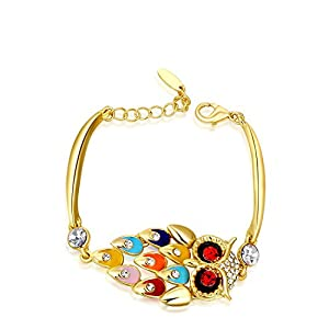 K-DESIGN Christmas Gift Classic women cool Owl bracelet clear Austrian Crystals Gold/Rose Gold Platedjewelry Chrismas