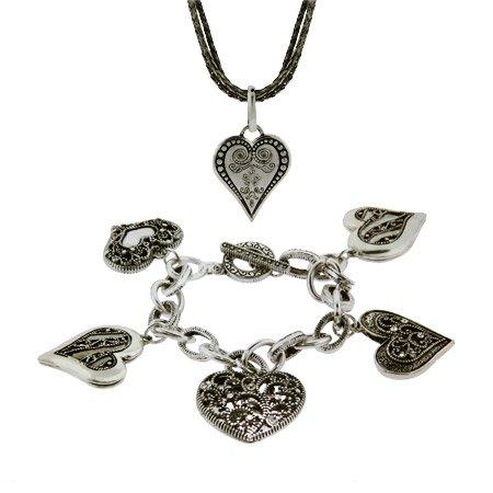 Bali Style Heart Necklace and Charm Bracelet Set