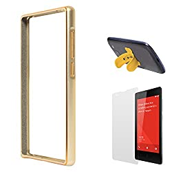 DMG Luxurious Aluminium Metal Bumper Case For Xiaomi Redmi 1s (Golden) + Touch U Silicone Stand + Matte Screen