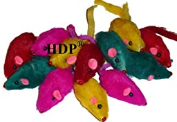 HDP Rainbow Furry Rattling Mice cat toy Size:Pack of 48