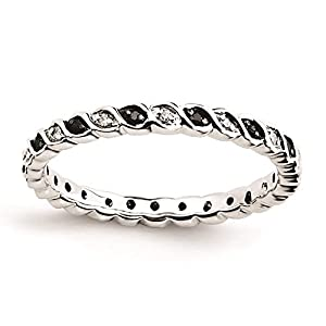 925 Sterling Silver Rhodium-plated Black & White Diamond Patterned Ring by Stackable Expressions Size 10