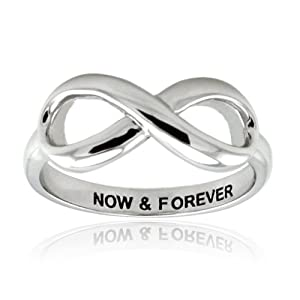 Sterling Silver Now & Forever Infinity Ring - Size N 1/2