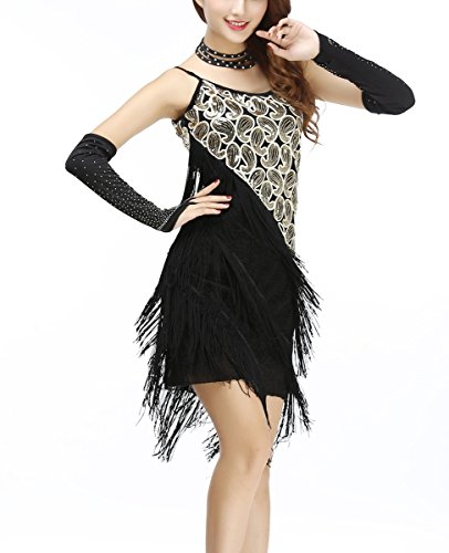Whitewed 1920 Paisley Art Deco Sequin Tassel Bead Flapper Dance Dresses Costumes