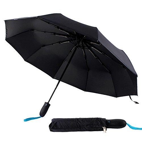 Folding viaggio ombrello automatico di apertura / chiusura indistruttibile antivento Canopy leggero con una sola mano con maniglia antiscivolo per un facile trasporto (Nero)