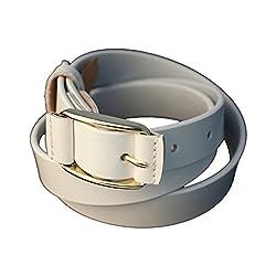 Lion Heart Women, Girls Casual White Genuine Leather Belt