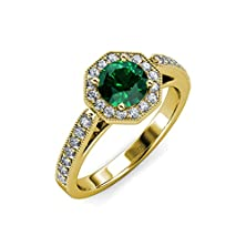 buy Emerald And Diamond Halo Engagement Ring With Milgrain Work 1.05 Ct Tw 14K Yellow Gold.Size 7.0