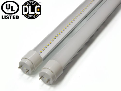 4Ft 18Watt 2000Lumen T8 Led Tube With Ul & Dlc Approval Single End Power G13 Bipin Base 40W Fluorescent Replacement White Color 4000K Frosted Cover