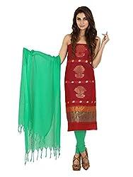 Pink Zari Work Cotton Unstitched Fancy Unstitched Dress Material