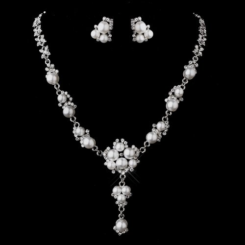 Antique Silver White Pearl Bridal Wedding Necklace & Earring Set