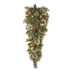 National Tree 3 Foot Wintry Pine Slim Teardrop Swag with Cones, Red Berries, Snowflakes and 50 Warm White Battery Operated LED Lights with Timer (WP1-300-3TB-1)