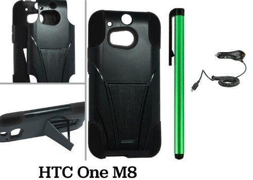 Htc One M8 Premium Pretty T-Stand Design Protector Hard Cover Case (2014 Q1 Released; Carrier: Verizon, At&T, T-Mobile, Sprint) + Car Charger + 1 Of New Assorted Color Metal Stylus Touch Screen Pen (Black / Black)