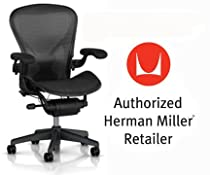 Hot Sale Herman Miller Aeron Chair Highly Adjustable with PostureFit Lumbar Support - Large Size (C) Graphite Dark Frame, Waves Carbon Black Pellicle Suspension Material Home Office Desk Task Chair