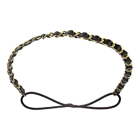 Mia Fashion Headband, Gold Chain with Black Faux Leather