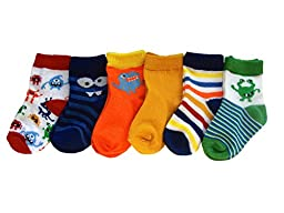 Trimfit Baby Boys Monster Themed Bootie Socks 6-Pack Multi Color M / 6 - 12 months