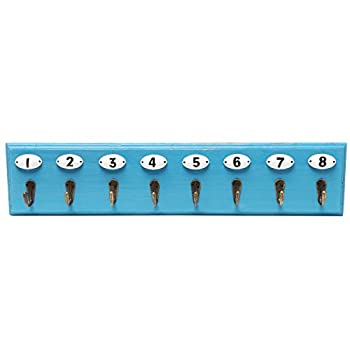 Wall Mounted Vintage Style Wooden Coat Hook Hanger Utility Organizer Rack w/ Numbered Hooks - Blue