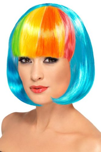 Smiffy'S Partyrama Wig Neon Blue With Rainbow Fringe, Multi, One Size
