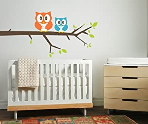 Vinyl Wall Printed Decal Owls on Tree Branch MM128