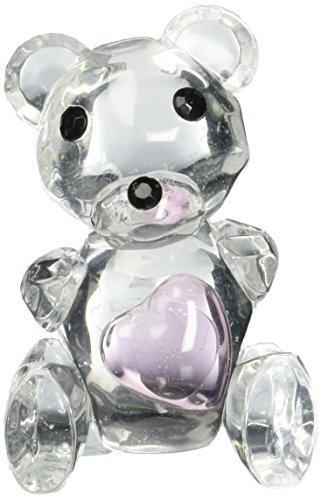 Fashioncraft Choice Crystal Collection Teddy Bear Figurines with Pink Heart