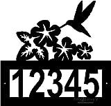 Custom Steel Hummingbird with Flowers Garden address sign